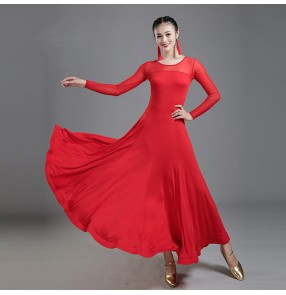 Black red long sleeves women's female competition stage performance waltz tango ballroom dancing dresses