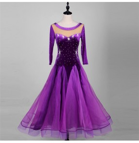 Violet purple rhinestones mesh fabric long sleeves velvet long length women's competition stage performance ballroom dancing dresses