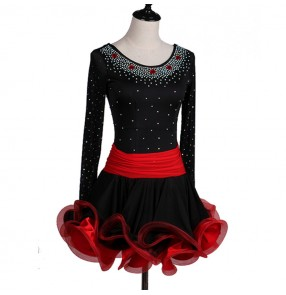 Black and red patchwork rhinestones competition professional women's female rumba salsa latin dance dresses