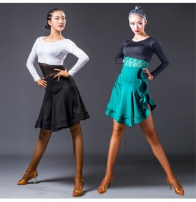 Black and white dark green lace long sleeves see though waistline competition women's female performance salsa cha cha latin dance dresses