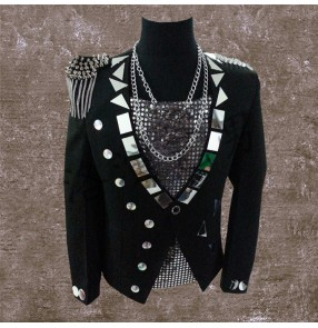 Black lens mirror long sleeves fringes epaulets men's male competition singers dj ds night club bar dance jackets coats