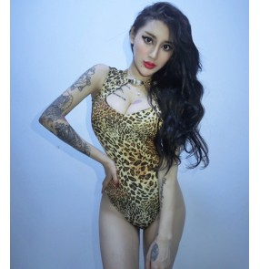 Leopard printed fashion sexy women's female competition night club bar singers jazz dancing bodysuits jumpsuits