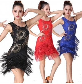 Black red royal blue violet Latin Dance Dresses outfits Women Girls Sexy Fringes Skirts Ballroom Rumba chacha Latin Dresses For Dancer