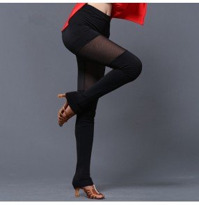 Black mesh lace patchwork sexy women's female competition gymnastics stage performance latin rumba salsa dance pants leggings