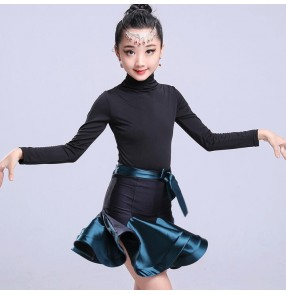 Red dark green turquoise blue hot pink patchwork ruffles skirts girl's kids children ballroom latin salsa cha cha dance dresses