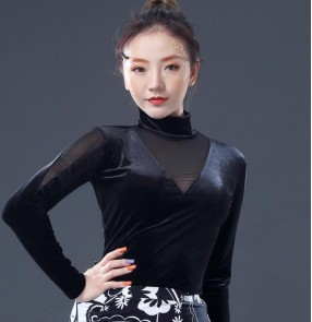 Black long sleeves velvet turtle neck fashion female competition stage performance ballroom latin dance tops blouses