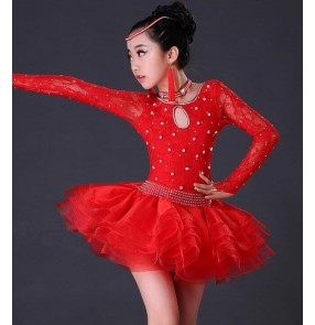 Black red royal blue lace long sleeves backless rhinestones beads competition stage performance girl's kids children latin salsa cha cha dance dresses