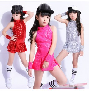 Silver fuchsia red sequined paillette modern dance girl's kids children drummer stage performance hiphop jazz singers dancers costumes outfits