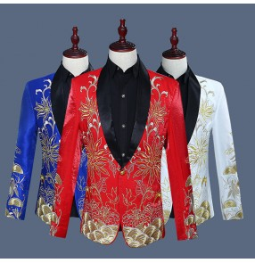 White red royal blue with gold embroidery pattern men's male singers host performance jazz groomsman long sleeves dance blazers coats
