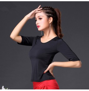 Black short sleeves back mesh patchwork fashion women's girl's performance exercises latin ballroom dance tops blouses
