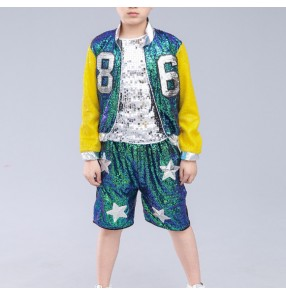 Boy street dance hiphop sequined glitter school stage performance kids children jazz singers dancers show dancing costumes outfits