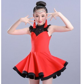 Girls latin dresses kids children red orange light pink black lace competition gymnastics performance latin ballroom dance dresses