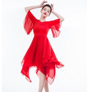 Black red modern dance ballet dance dresses women's female competition stage performance ballet dance dresses costumes