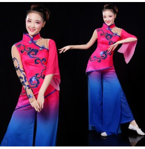 Chinese folk dance dresses women's female fuchsia royal blue competition yangko dance fan fairy classical traditional performance dance costumes