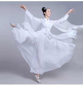 White Chinese folk dance dresses women's female competition stage performance kimono han classical fairy dancing dresses