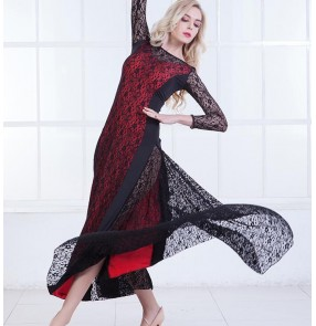 Lace ballroom dresses women's female competition gymnastics stage performance professional ballroom tango waltz dancing dresses
