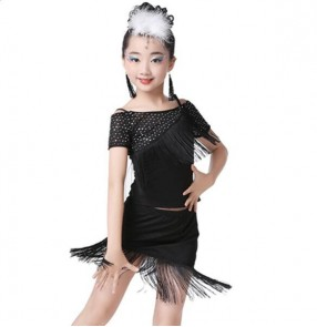 Sequined latin dresses girl's kids children stage performance competition gymnastics latin salsa rumba cha cha dance dresses