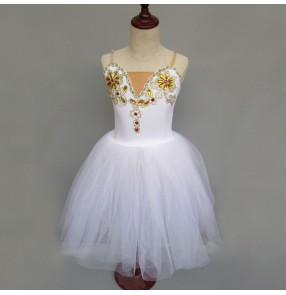 White modern dance ballet dress girl's kids children stage performance competition long length swan lake ballet dresses