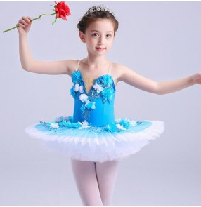 Turquoise flowers ballet dance dresses girl's gymnastics competition tutu skirt swan lake pancake plate ballet dance dresses
