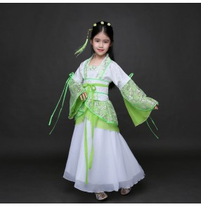 Girl's Chinese folk dance fairy dresses green kids children girls stage performance classical photos anime film cosplay princess dresses robes
