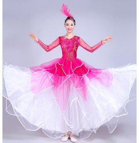 flamenco  Fuchsia white gradient folk dance dresses women's female competition stage performance Spanish folk bull dance ballroom dance dresses