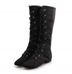 High Jazz Dance Boots Stage Dance black competition modern dance Boots Girls Women cotton canvas Performance Shoes