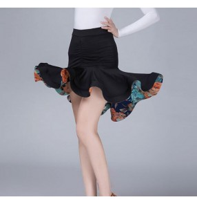Floral women's latin skirts female competition stage performance salsa rumba dancing ruffles irregular hem skirts