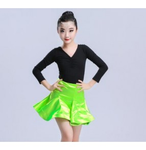 Neon green girls latin dresses children kids stage performance competition ballroom latin rumba salsa chacha dance dresses