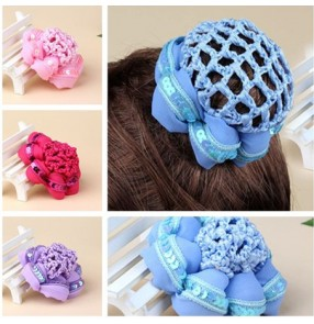 Girls ballet dance Bun Cover Snood HairNet Ballet Dance Skating Crochet Fanchon sequined Styling latin ballroom dance Headwear