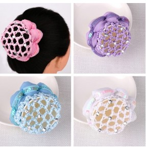 Girls ballet dance hair net Bun Cover Snood Hair Net Ballet Dance women Skating Crochet Fanchon Rhinestone Styling Headwear