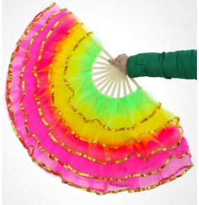 Rainbow colored women's Chinese folk yangko dance fans Christianity performance props