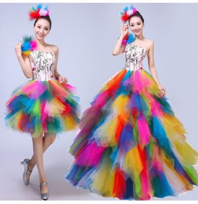 Women's modern dance dress rainbow colored stage performance competition chorus singers dancers dancing dress costumes