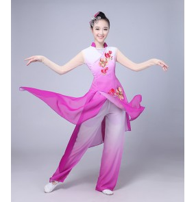 Women's Chinese folk dance costumes purple gradient colored yangko classical traditional fairy umbrella fan dance dresses