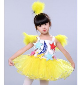 Jazz dance costumes for girls kids children yellow pink green  modern dance princess singers cosplay dresses