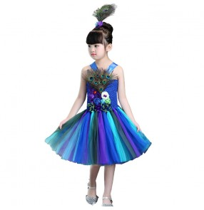 Kids jazz dance dresses for girls children Robe de danse jazz pour enfants stage performance peacock ballet modern dance costumes