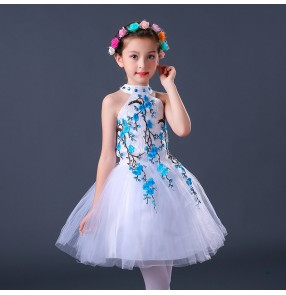 kids jazz dress for girls stage performance competition pink red blue princess ballet dance dress Robe de danse jazz pour enfants