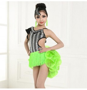 Girls competition stage performance black and white green orange latin dress children rumba salsa chacha dance dresses