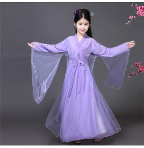 Kids ancient Chinese folk dance costumes girl's anime cosplay film kimono traditional dancing dress robes