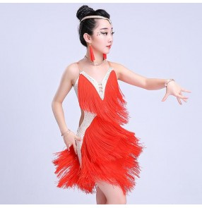 Girls latin dress for kids children fringes red pink blue white competition diamond salsa rumba chacha performance dance dresses