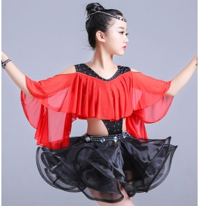 Girls latin dress for kids children red black competition stage performance salsa chacha rumba dance dresses