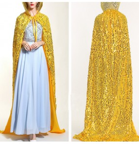women's jazz dance cape sequined colorful paillette modern dance singers opening dancing celebration party long cloak