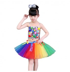 Rainbow girls jazz dance dress school competition stage performance princess flower girls party show cosplay outfits