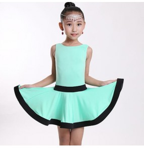 Girls latin dresses for kids children mint orange black stage performance salsa chacha rumba dance dresses costumes