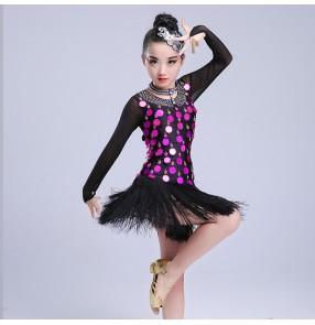 Girls latin dresses gold fuchsia sequined modern dance singers dancers performance competition fringes salsa chacha rumba dresses