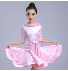 Kids latin dance dresses pink white blue competition girls children stage performance ballroom salsa chacha dance dresses