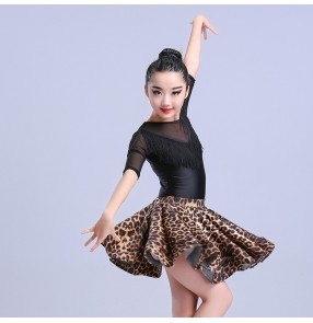 Kids latin dress ballroom competition performance salsa rumba chacha dance dresses