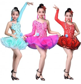 Girls latin dance dresses mint pink red competition stage performance ballroom salsa chacha rumba dance dresses