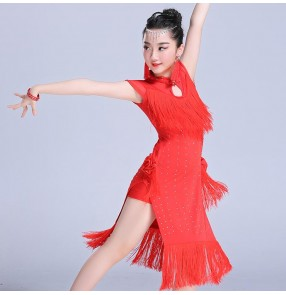 Girls latin dance dresses red black royal blue fringes samba dresses competition stage performance salsa chacha rumba dance dresses