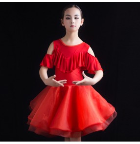 Kids latin dance dresses for girls children stage performance black red competition ballroom salsa rumba chacha dance dresses