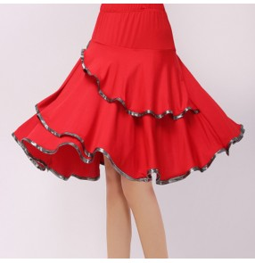 Women's latin dance skirts female square chacha rumba salsa performance competition dancing skirts
